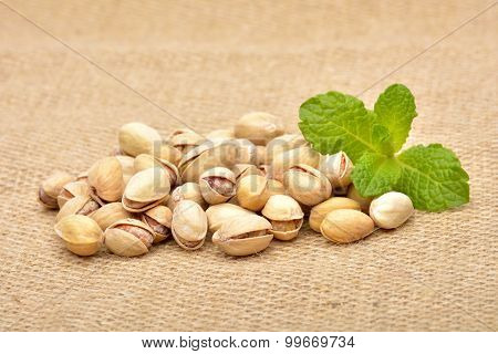 Pistachios On Old Canvas