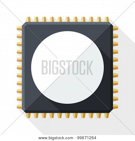 Chip Icon With Long Shadow On White Background