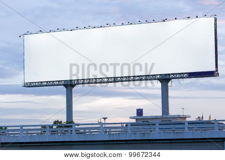 Blank Post Ads Billboard On Tollway : Clipping Path For Fill