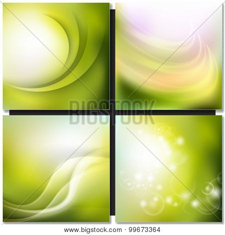 Abstract spring green wave background