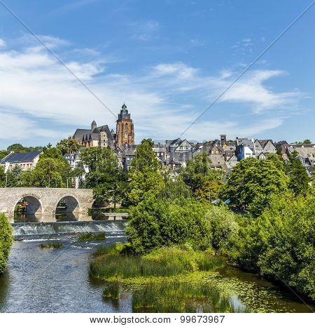 Old Lahn Bridge And View To  Wetzlar Dom
