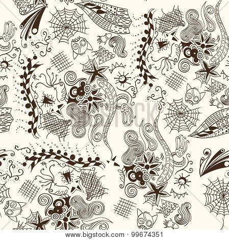 Seamless subconscious pattern. Abstract pattern symbolizes the unconscious fears and concerns. Doodl