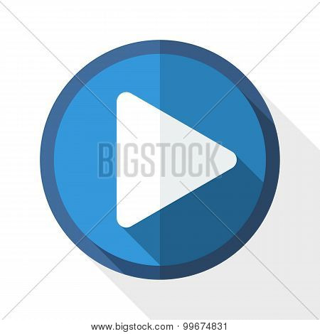 Vector Play Icon With Long Shadow On White Background