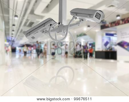 Cctv Security Camera Shopping Department Store Background.