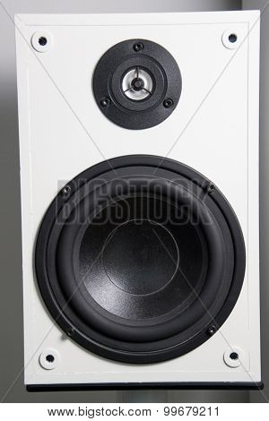 photo of a white and black subwoofer