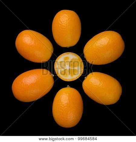 Oval Kumquats Forming A Sun Symbol On Black Background