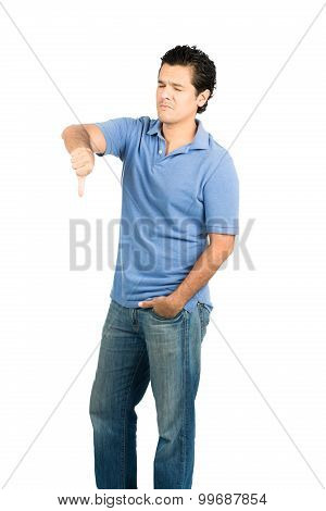 Eyes Closed Frowning Hispanic Male Thumb Down