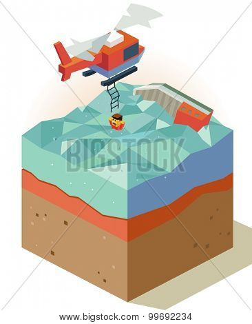 Air rescue from sinking ship. isometric art