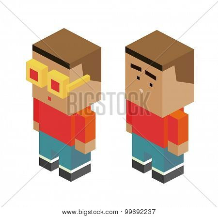 Two Boys. isometric art