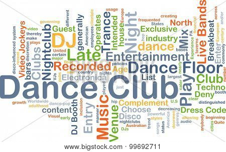 Background concept wordcloud illustration of dance club