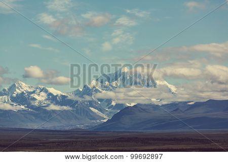 Denali (McKinley) peak in Alaska, USA. Instagram filter.