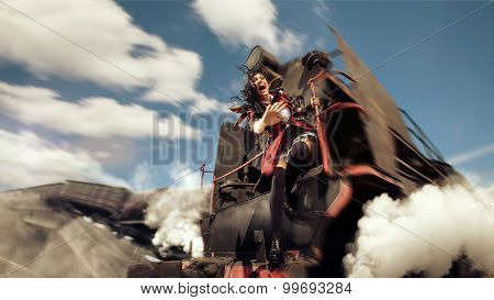 Crying Woman Is Holding Onto The Derailment Locomotive.