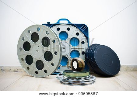 Many 35 Mm Cinema Movie Reel With Boxes