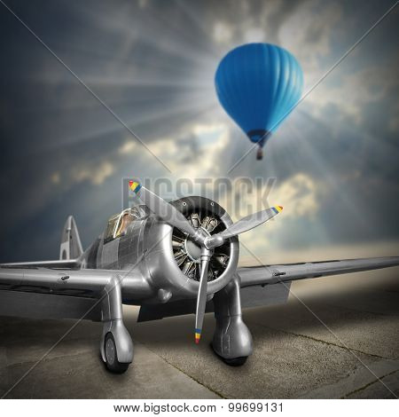 Old aircraft and hot air balloon. Retro style picture on aviation theme.