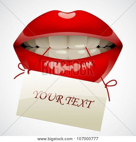 Female sexy gloss red lips with a visiting card in the teeth. Opened sensual mouth of woman with business card. Vector illustration