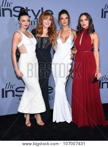 LOS ANGELES - OCT 26:  Miranda Kerr, Charlotte Tilbury, Alessandra Ambrosio & Olivia Cu arrives to the InStyle Awards 2015  on October 26, 2015 in Hollywood, CA.
