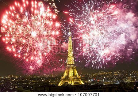 Eiffel tower with fireworks, celebration of the New Year in Paris, France
