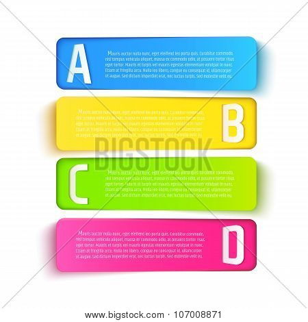Multicolored paper cut banners with ABCD letters. Vector template for presentations, brochures or in
