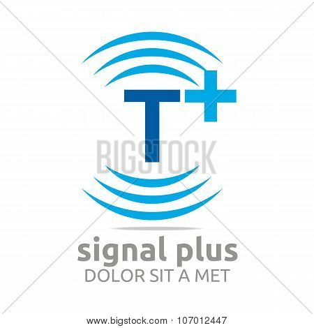 abstract Design Logo Signal Plus Alphabet Wireless Icon Vector poster