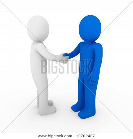 3d human business handshake blue