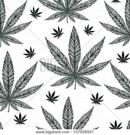 Hemp Cannabis Leaf seamless pattern.