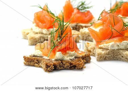 Canapes In Star Shape With Salmon For Christmas Or New Year, On White