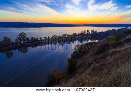 Gorgeous dawn on blue lake