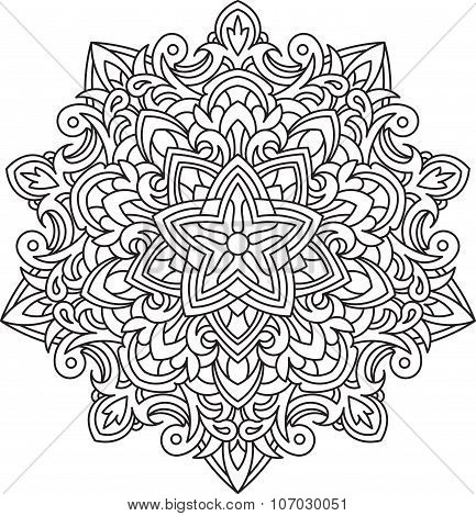 Abstract Vector Black Lace Design In Mono Line Style - Five-finger Mandala, Ethnic Decorative Elemen