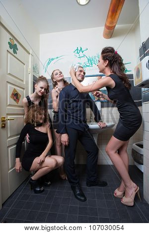 drunk girl in toilet bars. beautiful women in evening dresses in alcoholic intoxication poster