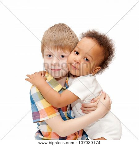 White Brother Hugging Black Baby Sister.