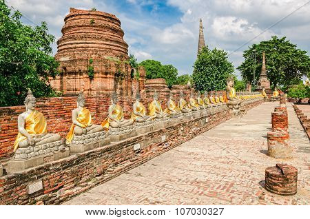 Ayutthaya (thailand), Buddha Statues In An Old Temple Ruins