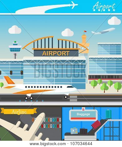 Airport building and travel concept vector illustration in flat design. Terminal, takeoff, landing s