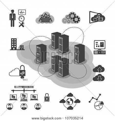 Big Data icons set, Cloud computing and network concept