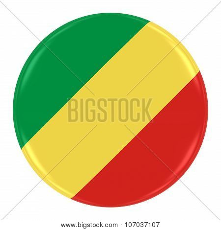Congolese Flag Badge - Flag Of The Republic Of The Congo Button Isolated On White