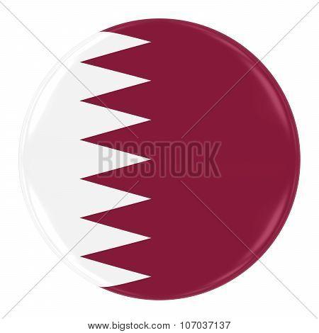 Qatari Flag Badge - Flag Of Qatar Button Isolated On White