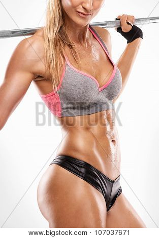 Nice Sexy Woman Showing Abdominal Muscles, Closeup, Workout With Big Dumbbell, Retouched