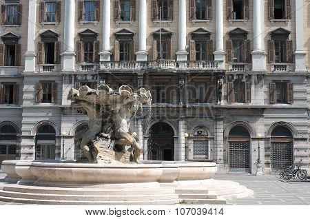 Fountain Of The Tritons In Piazza Vittorio Veneto In Trieste, Italy