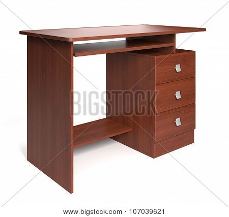 Isolated Wood Desk. 3d rendering.