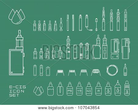 Vector illustration icon set of vaping e-cigarette devices and equipment