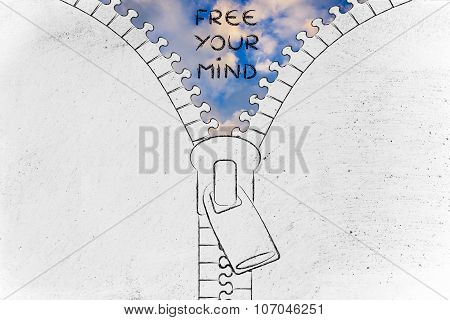 Zip Revealing A Serene Sky, Illustration With Text Free Your Mind