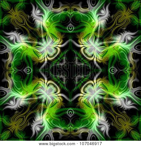 Abstract magic light green glow - decorative pattern and shape