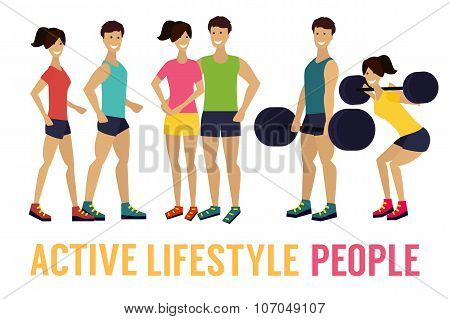 fitness man and woman with barbell in gym
