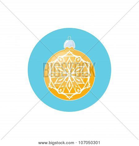 Colorful Icon Yellow Ball with Snowflake
