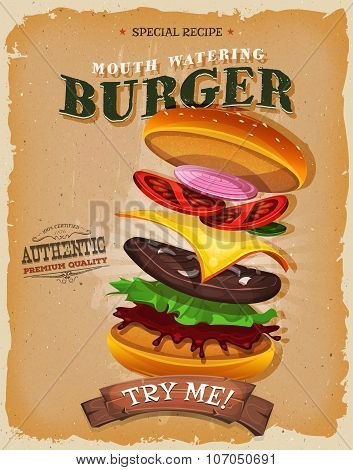 Grunge And Vintage Burger Ingredients Poster