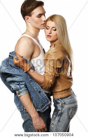 Sexy young couple wearing jeans