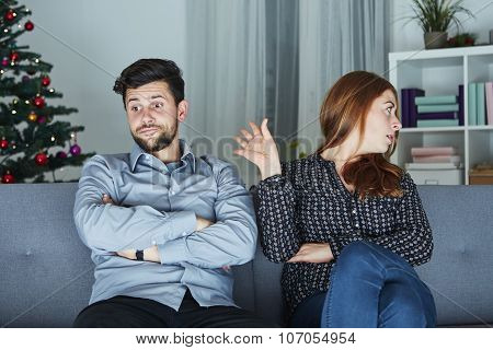 Young Modern Couple Is Irritated Of Christmas