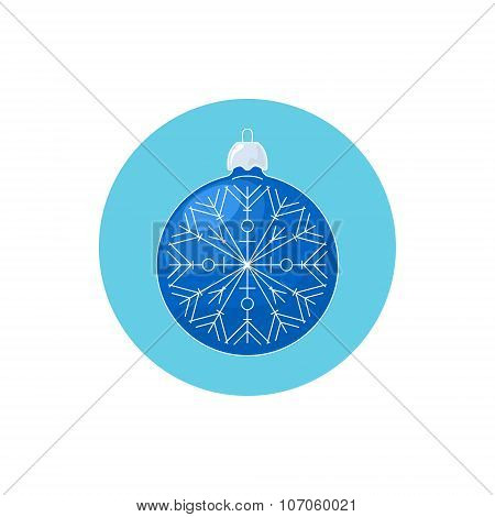 Colorful Icon Christmas Blue Ball with Snowflake