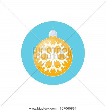 Icon Yellow Ball with Snowflake