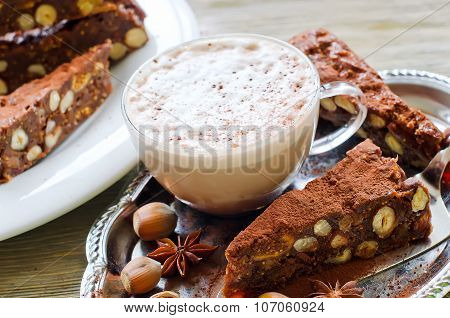 Panforte Mocca With Dried Fruits, Nuts And A Cup Of Cappuccino Coffee