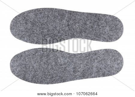 Pair Of Felt Insoles Isolated On White